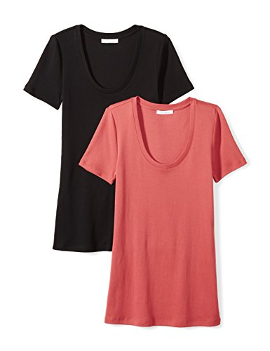 (Daily Ritual Women's Midweight 100% Supima Cotton Rib Knit Short-Sleeve Scoop Neck T-Shirt, 2-Pack, S, Black/Cardinal Red)