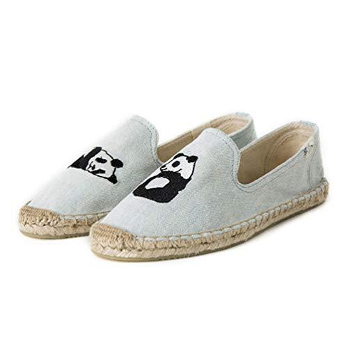 De Lino Zapatos Lona azul Retro Mocasines Womens Casual Cómodas 2 P76q6