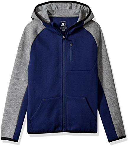 (Starter Boys' Double Knit Colorblocked Zip-Up Hoodie, Amazon Exclusive, Team Navy,)