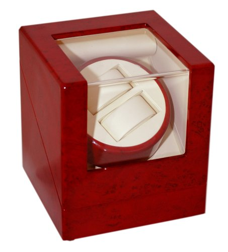 Diplomat Cherry Wood Double Watch Winder with Off-White Leather Interior -