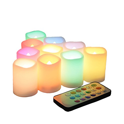Flickering Battery Operated Color Changing Flameless LED Votive Candles with Remote Long Lasting Decorative Electric Multi Colors Candle Set for Wedding Party Decorations 10 Pack Battery Included (Remote Candles Controlled Led)