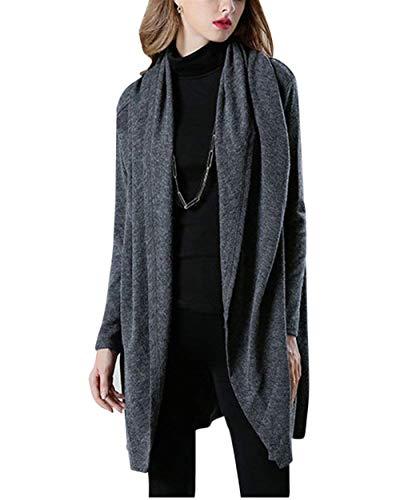 Chaqueta Coat Anchas Manga De Punto Sólidos Irregularmente Elegante Outerwear Grau Larga Placket Fashion Relaxed Mujer Primavera Abrigos Colores Otoño Señora Cardigan Huixin qZ87w70