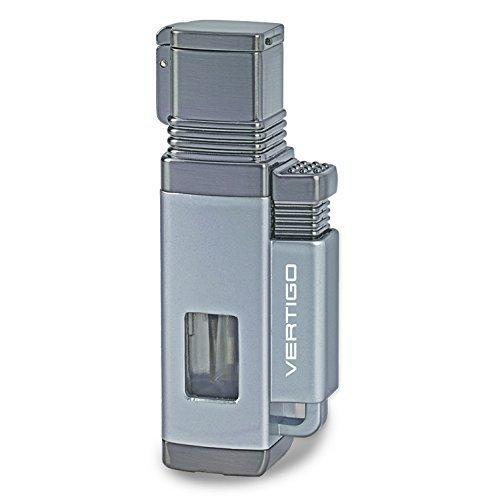 Vertigo Churchill Metallic Silver and Gunmetal Quad Flame Torch Lighter by Roy Rose Gifts