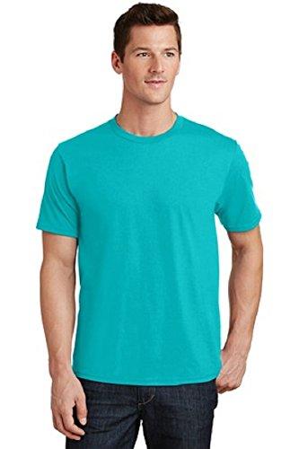Port & Company Men's 100% Ring Spun Cotton Fan Favorite Tee-Bright Aqua-Medium
