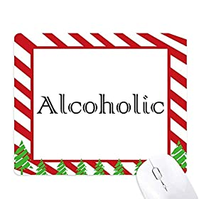 Stylish Word Alcoholic Mouse Pad Candy Cane Rubber Pad Christmas Mat