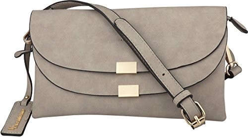 Clutch Vegan Leather - B BRENTANO Vegan Fashion Double-Flap Wristlet Clutch Crossbody Handbag (Gray)