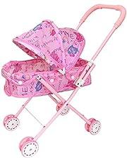 Opvouwbare Poppenwagen Met Kap Aanbiddelijke Pop Kinderwagen Lichtgewicht Roze Baby Speelgoed Wandelwagen Voor Kinderen Baby Peuters Wandelwagen Model