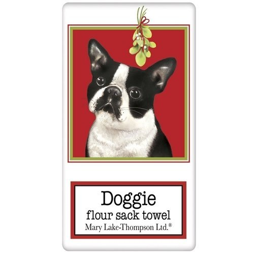 Boston Terrier Mistletoe Holiday Flour Sack Kitchen Towel (Kitchen Terrier Towel)