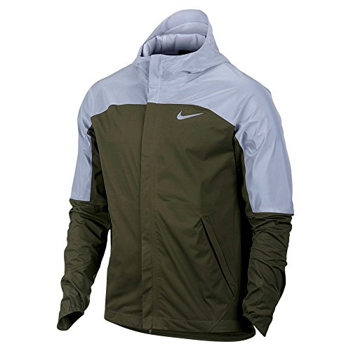 NIKE men's shield flash running jacket NEW! 2016 olive/reflective (M) (Nike Vapor Jacket compare prices)