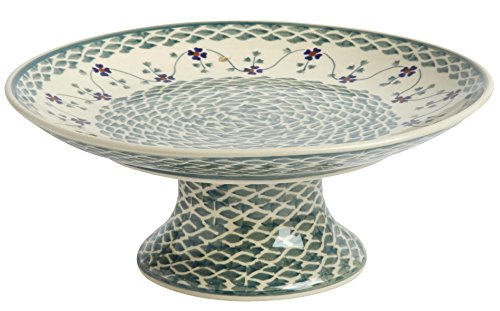 Polish Pottery Green Basketweave Cake Stand, 10
