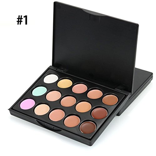 Laimeng,Mini 15 Colors Cosmetic Face Concealer Cream Contour Palette Makeup (A)