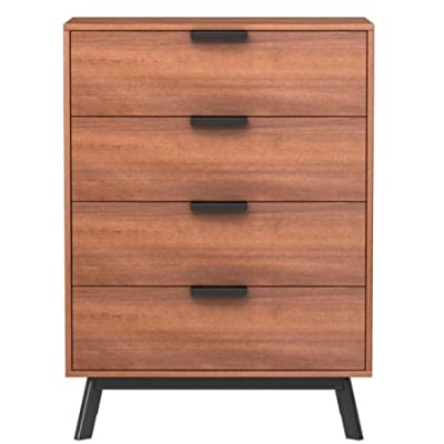 Mainstays Mid Century Modern 4 Drawers Chest in Vintage Umber Finish - Mainstays Mid Century Modern 4 Drawers Chest adds a classic addition to your living room or master suite, This handsome chest features 4 drawers and an umber finish and expertly crafted from Engineered wood that makes it robust and tough. Combine it with coordinating Mid Century Bedroom pieces such as our Nightstand, 3 Drawer Chest, 4 Drawer Chest, 6 Drawer Dresser, and the Headboards in different sizes the Twin, and the Full/Queen to make a stylish pulled together statement. - dressers-bedroom-furniture, bedroom-furniture, bedroom - 41BJXqOtl1L. SS400  -