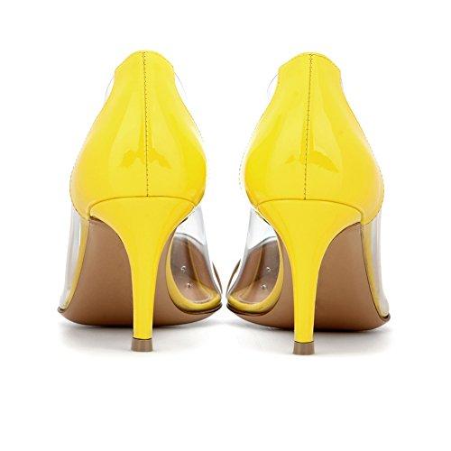 Eldof Womens Mid Heel PVC Pumps | 65mm Pointed Cap Toe Transparent PVC Stilettos | Wedding Dress Event Shinny Leather Pumps Shoes Nude 4R5A9V