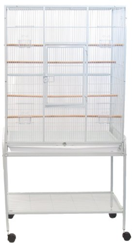 YML 1/2-Inch Bar Spacing Aviary Cage with Stand, 30-Inch by 19-Inch by 61-Inch, White by YML