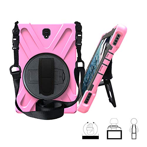 TianTa Galaxy Tab S4 10.5 Case, Hybrid Three Layer Heavy Duty Protective Case with Hand Strap, Shoulder Strap & 360 Rotating Kickstand for Samsung Galaxy Tab S4 10.5 Inch 2018 SM-T830 / T835 - Pink (Pink Case Galaxy S4 Hybrid)