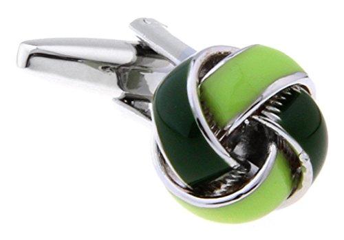 - MRCUFF Knot Green Pair Cufflinks in a Presentation Gift Box & Polishing Cloth