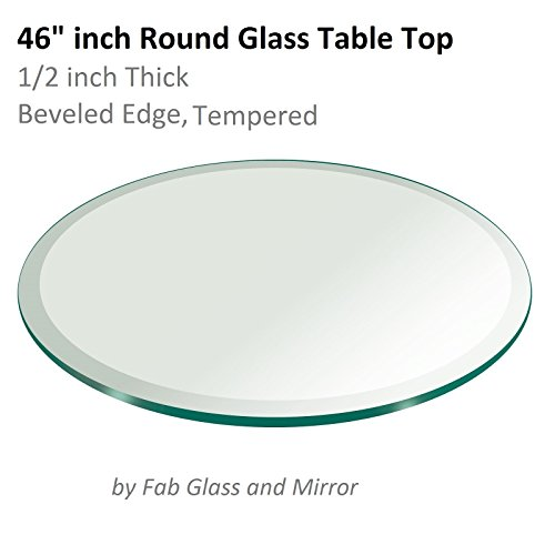 46'' Inch Round Glass Table Top 1/2'' Thick Tempered Beveled Edge by Fab Glass and Mirror by Fab Glass and Mirror