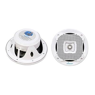 "6.5"" Dual Waterproof Marine Speakers - 400W 4Ohm Outdoor Car/Boat Radio Stereo Speakers Waterproof/Weather Proof Marine Stereo Speakers System Pair - Mounting Kit Speaker Wire, Grill- Lanzar AQ6CXW: Car Electronics"
