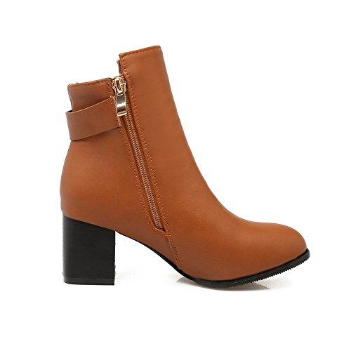 AgooLar Women's Low-top Zipper Soft Material Kitten-Heels Round Closed Toe Boots Brown xYeDVM