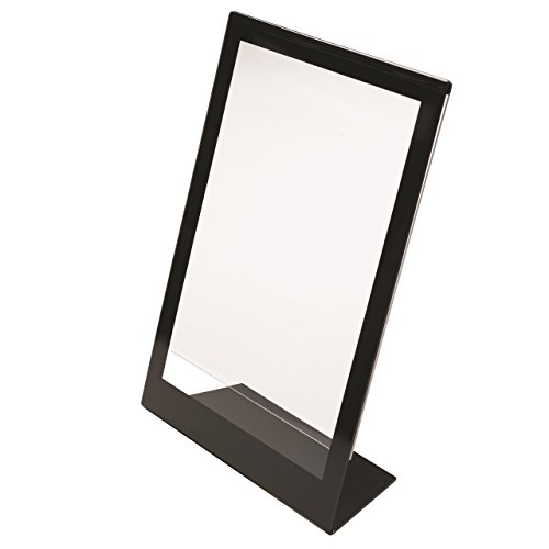 "Deflecto Superior Image Slanted Sign Holder, Tabletop and Desk, Vertical, 8.5"" x 11"", Black Border (69775)"