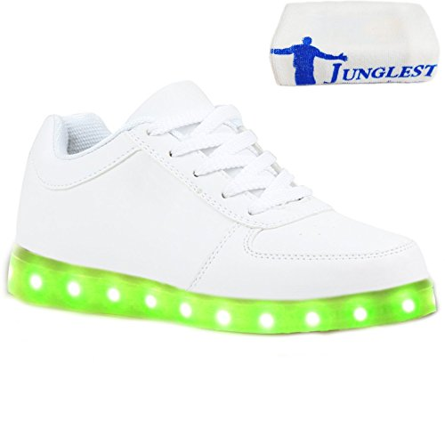 (Present:kleines Handtuch)JUNGLEST® [ Led Schuhe ] 7 Farbe USB Aufladen LED Leuchtend Sport Schuhe Sneaker für Unisex-Erwachsene Weiß