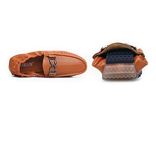 de Zapatos Hombre detrás Parte shoes de elástico marrón de Hueca Xiazhi Penny decoración con 2018 en Piel con Macho del de y diseño Superior conducción auténtica Barco UK Marrón 8 la para Metal FSq8xxX5Zw