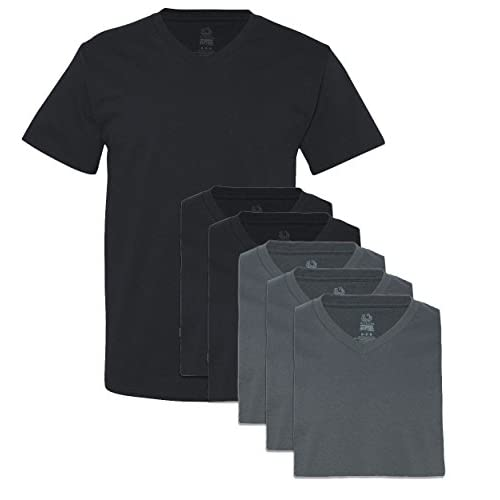 New Fruit of the Loom Men\'s 6 Pack V-Neck T-Shirt, 3 Black / 3 Charcoal, Medium free shipping Ww7n8N5q