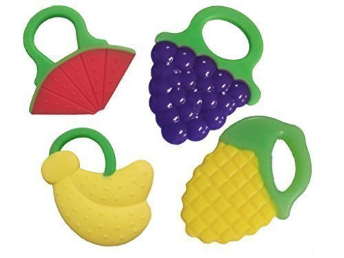 Droolees Baby Teether Toys, FDA Approved, BPA, Latex, PVC, Phthalate Free, Soft & Chewy, 4 Fruit Teether Shapes, Soothes Baby & Toddlers Sore Gums