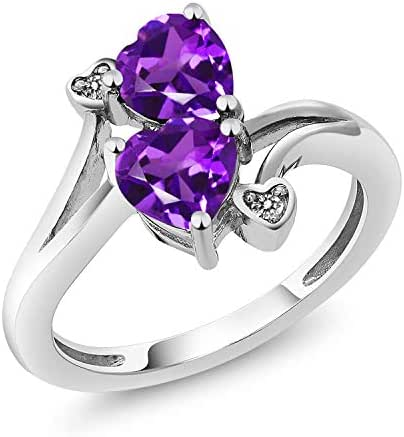 Gem Stone King 925 Sterling Silver Purple Amethyst and Diamond Accent Ring 1.33 Ctw Heart Shape Gemstone Birthstone (Available 5,6,7,8,9)