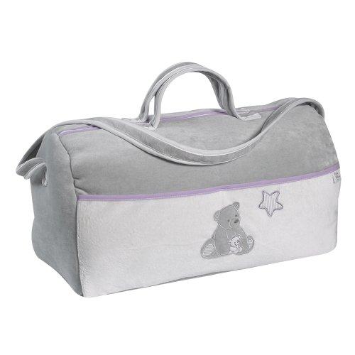 Câlin Câline 304.09 Zach - Bolso de viaje, diseño de osito, color blanco, gris y morado