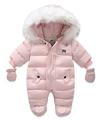 KOOSUFA Baby sneeuwpak overall winter met bontcapuchon ritssluiting kinderen meisjes jongens rompers sneeuwpakken…