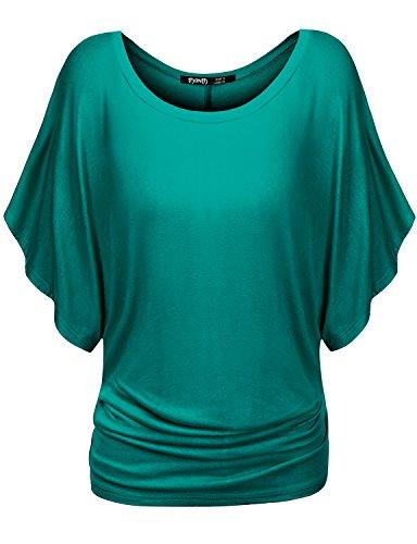 Kimono Sleeve Knit Tunic Top (Thanth Womens Short Kimono Sleeve Boat Neck Dolman Top, CWTTS029_Jade, Medium)
