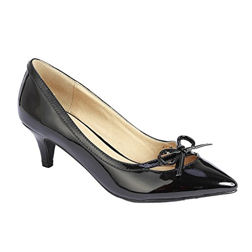 Coshare Women's Fashion Patent Bow Front Low Heel Pumps, Black, 7 M US