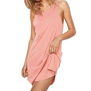 Mobisi Womens Pink Sleeveless Nightgown Backless Pajama Dress Sleep Tees Shirt Sleepwear Lounger
