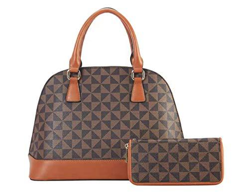 Domed Handbags Satchel - Leather Shoulder Bags Domed Satchel Handbags Work Bag With Wallets 2pcs Set For Women (BR)