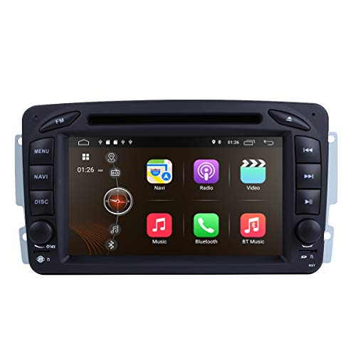 Android 9.0 Car Stereo DVD Player 7 in Dash Autoradio 2 Din Head Unit RAM 2G GPS Navigation with DVD Player for Mercedes-Benz C-W209 C-W203 Viano Vito Vaneo A-Class with SWC Buttons