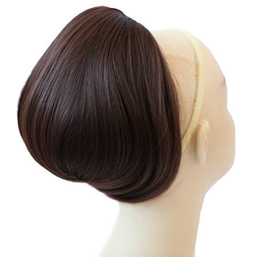 PRETTYSHOP BUN Up Do Hair Piece Hair Ribbon Ponytail Extensions Draw String Scrunchy Scrunchie Wavy Messy Chocolate brown # 4 H403
