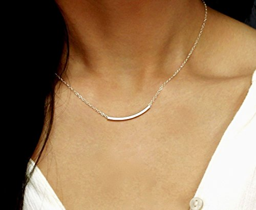Bar Curved Tube Necklace, Delicate Thin Curved Bar Necklace 14k Gold fill, 925 Sterling Silver, 14k Rose Gold Layering Necklace / Simple Everyday Necklace (Tube Necklace)