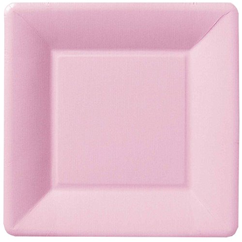 Ideal Home Range PEK10150 8 Count Square Paper Plates, 7-Inch, Classic Linen Rose