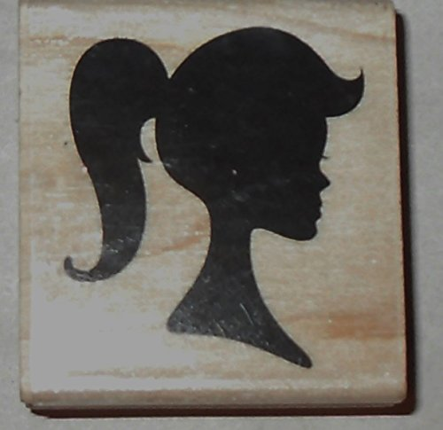 Profile Silhouette (Wood handle Rubber stamp -Valley Girl, Profile, Silhouette Pose)