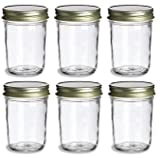 mason jar with gold lid - PremiumVials, 6 pcs, 8 oz, Mason Jars with Gold Lids for Jam, Honey, Wedding Favors, Shower Favors, Baby Foods, Canning, spices, Half Pint (6, 8 oz Mason Jar w/Gold Lids)