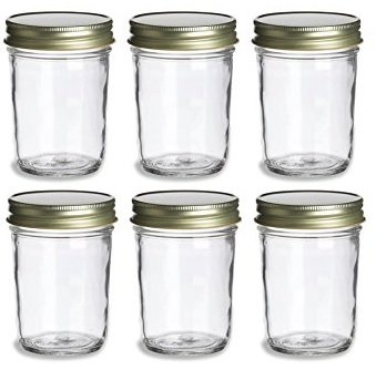 PremiumVials, 6 pcs, 8 oz, Mason Jars with Gold Lids for Jam, Honey, Wedding Favors, Shower Favors, Baby Foods, Canning, spices, Half Pint (6, 8 oz Mason Jar w/Gold Lids)