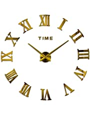 Roman letter sticker large size 3D Wall Clock (110 by 110 and below) cm gold color