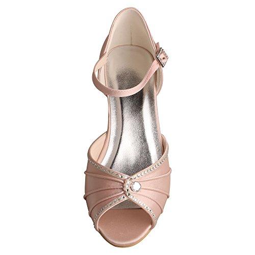 eb71c5ab5 Wedopus MW033B Women s Peep Toe Mary Jane Low Heel Pleated Rhinestones  Satin Wedding Prom Shoes - Buy Online in Oman.