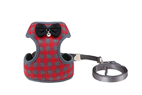 SCENEREAL Small Dog Harness Leash Set Christmas Best Cute Soft Adjustable Pet Vest Harness for Cats Puppy Tiny Animals, Red Plaid Small ()