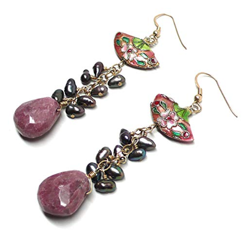 - Chunky Rhodonite Briolette Peach Chinese Cloisonne Fan Cultured Pearl Statement Gold-Filled Earrings