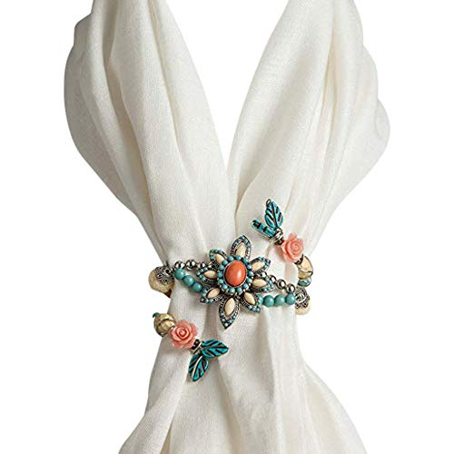 - DEMDACO Coral & Turquoise Floral Beaded Silvertone One Size Women's Zinc Alloy Charm Scarf Twist