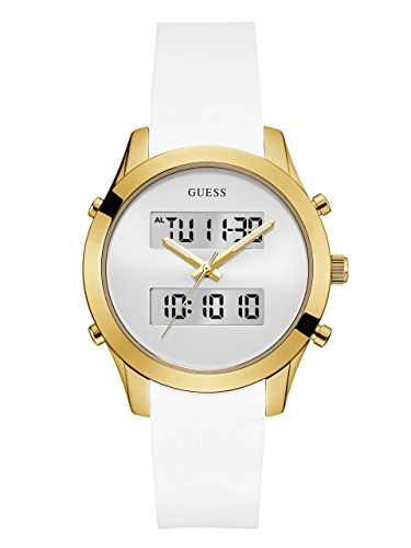 GUESS White and Gold-Tone Digital Analog Watch