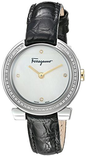 Salvatore-Ferragamo-Womens-Gancino-Evening-Swiss-Quartz-Stainless-Steel-and-Leather-Casual-Watch-ColorBlack-Model-FAP030016