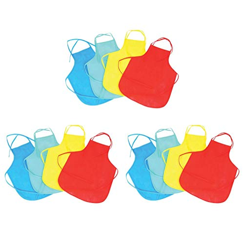 Kicko Colorful Apron for Kids - 12 Pack - Assorted Kids Apron with Ties - Perfect Workwear, Cooking, Gardening or Halloween Costume -